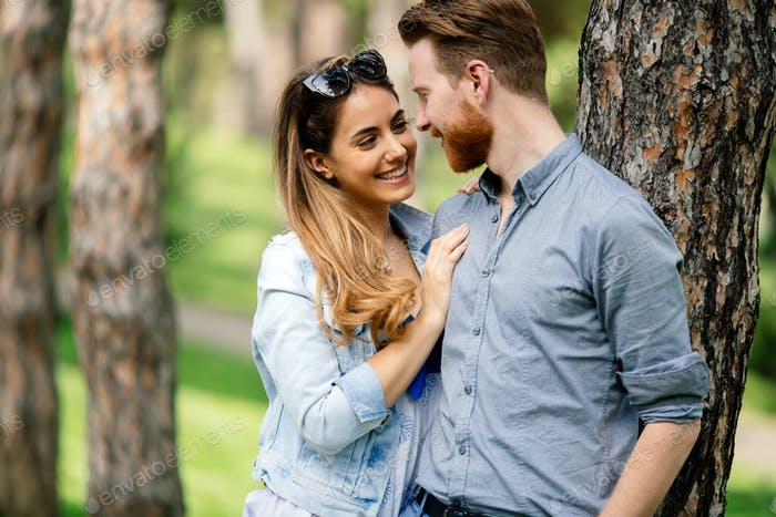 Couple sharing emotions outdoor