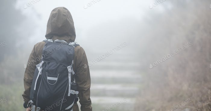 Hiking in foggy mountains