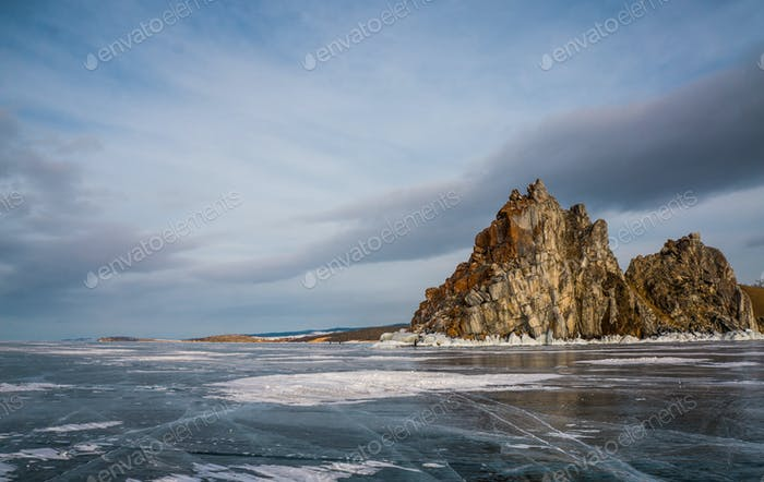 Scenic View of Frozen River With Mountains in Winter, Russia, Lake Baikal