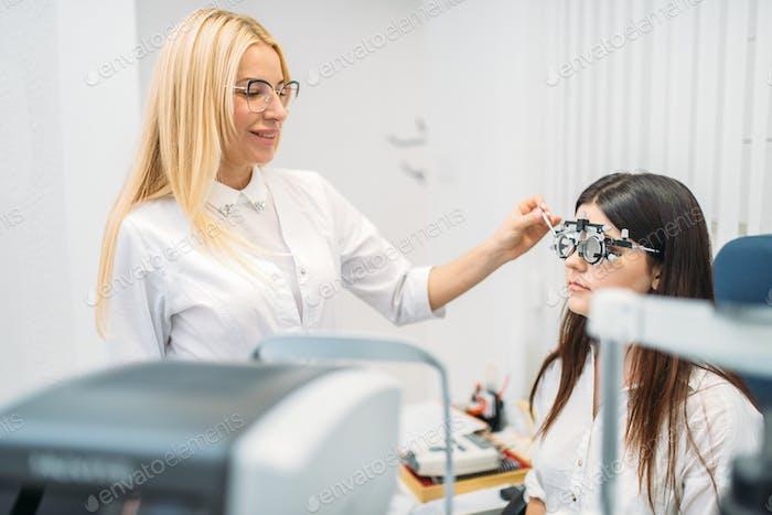 Patient on diagnostic of vision, oculist cabinet