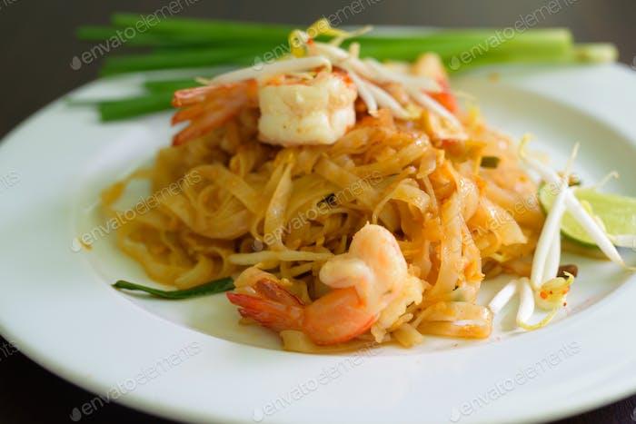 Pad Thai Noodles Thai Food Served On White Plate