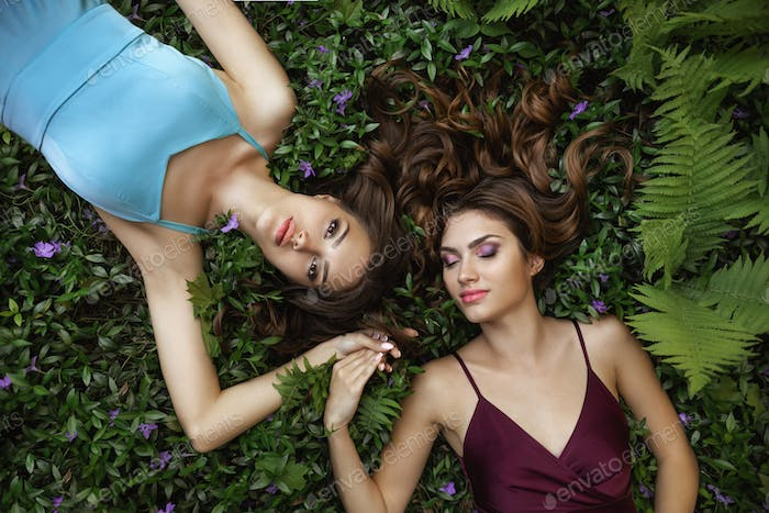 Spring Beauty Portrait Photo of Two Women on Nature