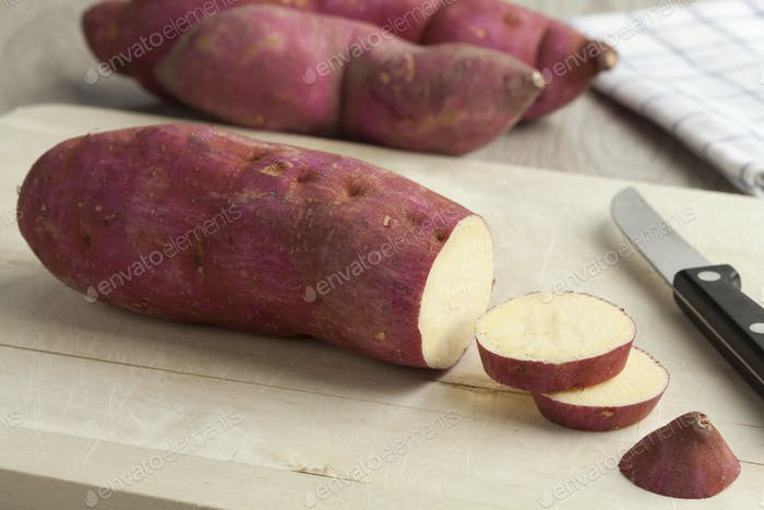 Purple sweet potatoes with slices