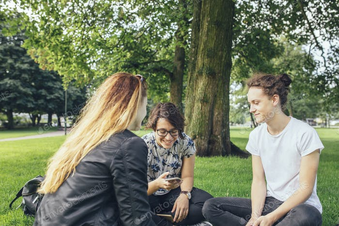 Teenage girls (14-15) and teenage boy (16-17) sitting in park and talking