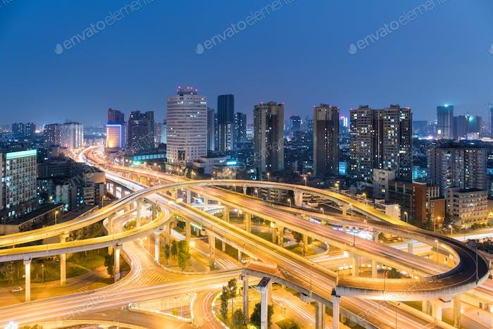 urban overpass at night
