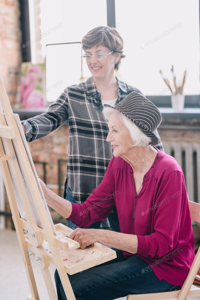 Cheerful Senior Woman in Art Class