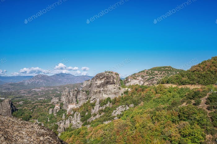 Landscape of Corfu mountains with greenery.