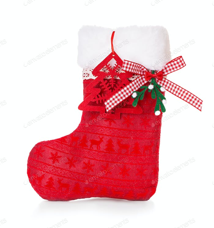 Red Christmas boot on white background isolated.