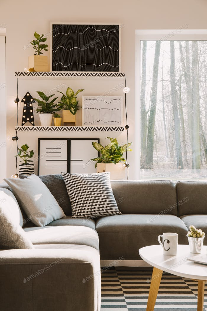 Pillows with pattern on grey corner couch standing in bright Nor