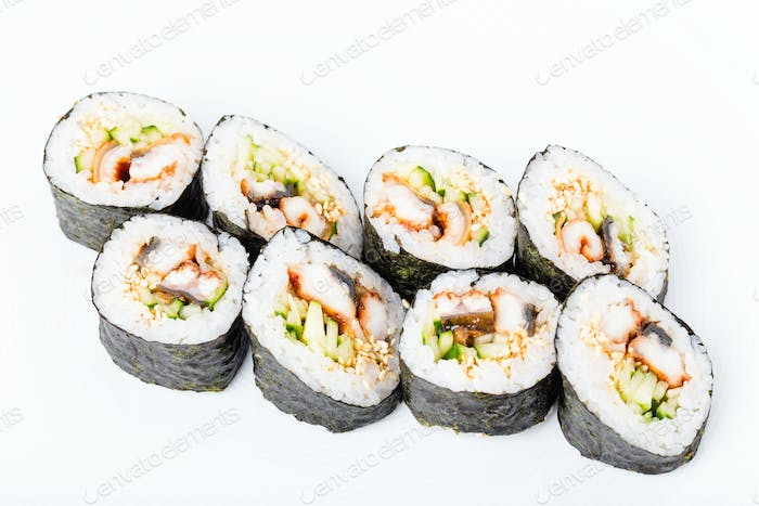 Delicious smoked unagi roll with cucumber.