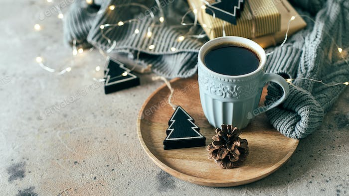 Cozy, mood, lifestile, still life concept. Cop of coffee and decor. New Year 2021 holiday concept.