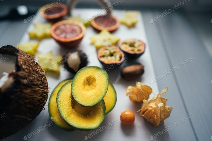 Exotic fruit platter.