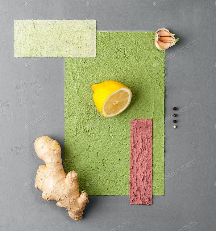 Fotoposter im minimalistischen Stil mit verschiedenen Früchten und Veget