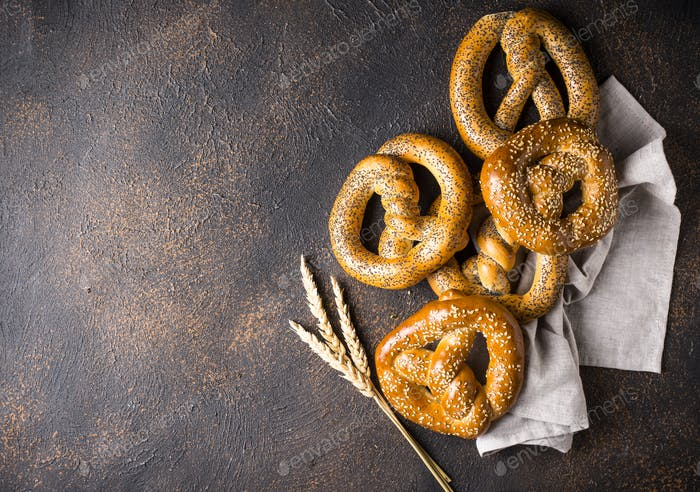 Pretzels, traditional festive Bavarian bakery