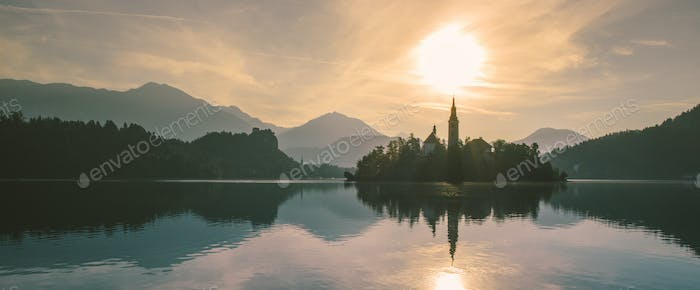 Panorama view of Bled lake in julian alps slovenia
