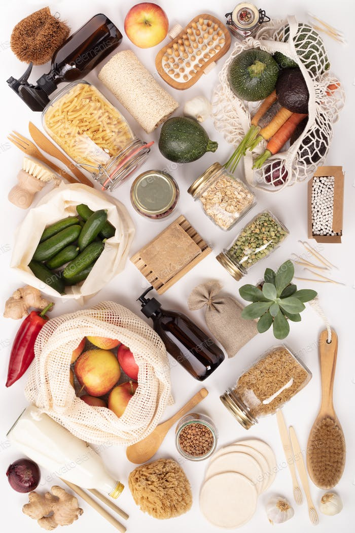 Zero waste lifestyle concept. Eco-friendly products, flat lay