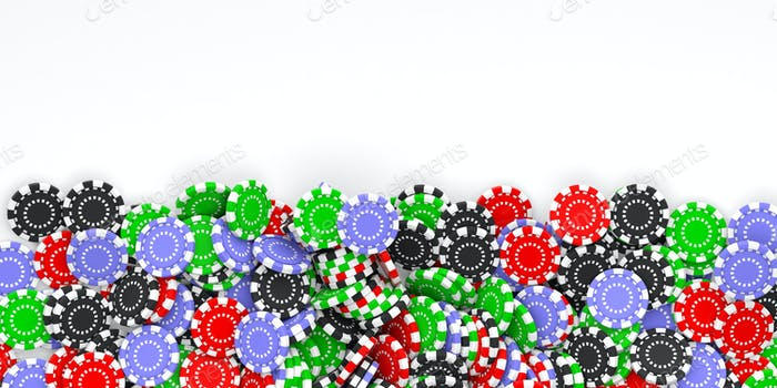 Casino chips background and copy space 3d illustration