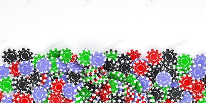 Casino Chips Hintergrund und kopieren Raum 3D Illustration