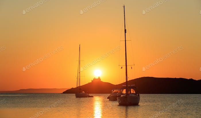 Greece, Sailing boat at sunset