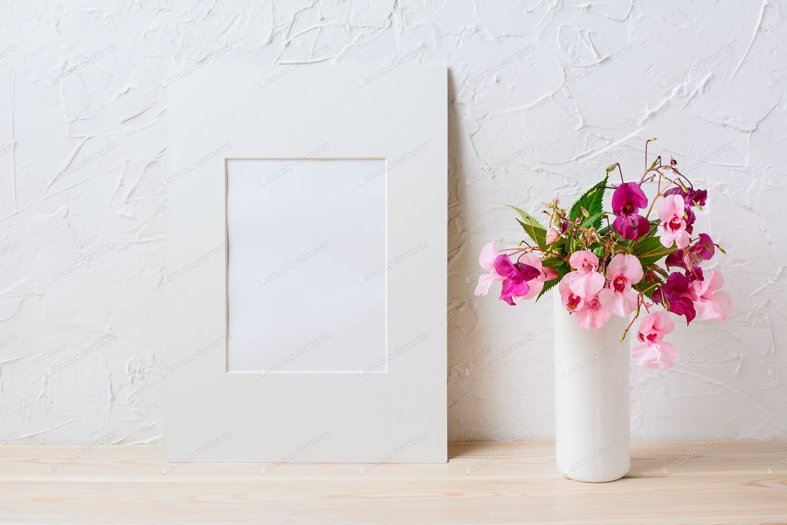 White mat frame mockup with pink and purple flower bouquet photo by white mat frame mockup with pink and purple flower bouquet photo by tasipas on envato elements izmirmasajfo