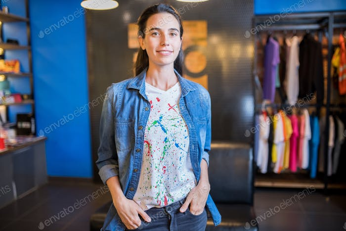 Saleswoman working in youth store