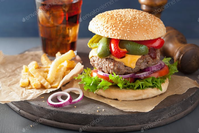 homedade cheese burger with peppers tomato onion