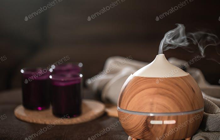 Modern oil aroma diffuser wiht decor details copy space.