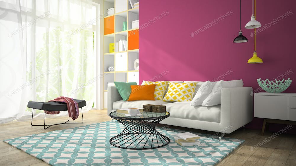 Interior of modern design room with purple wall 3D rendering 3 photo ...