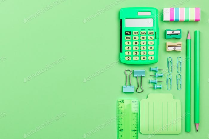 Back To School Conceptual Background, Creative Flat Lay, Pastel