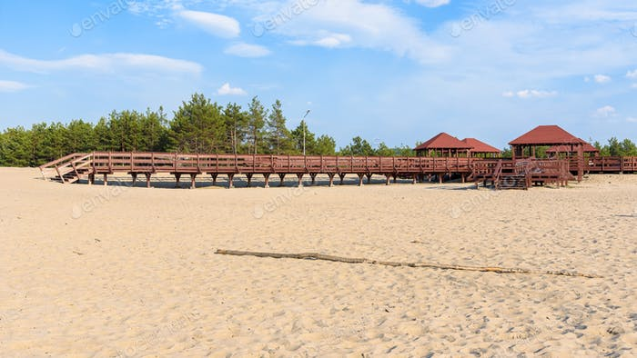 Panoramic view of wooden structure on the edge od Bledow Desert
