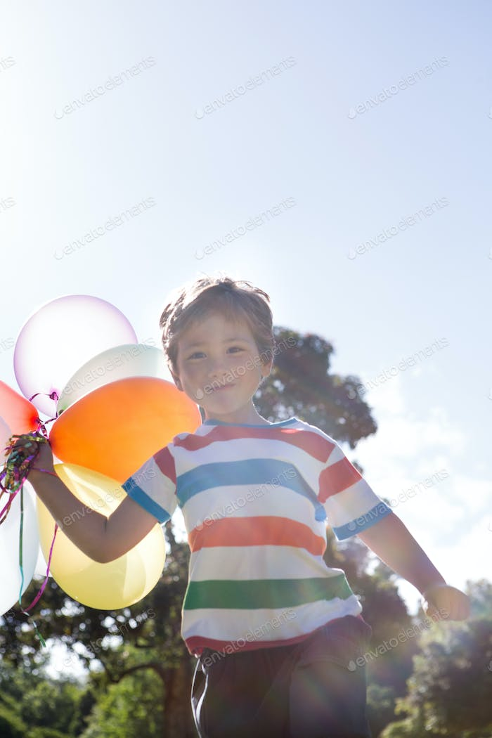Happy little boy holding balloons on a sunny day