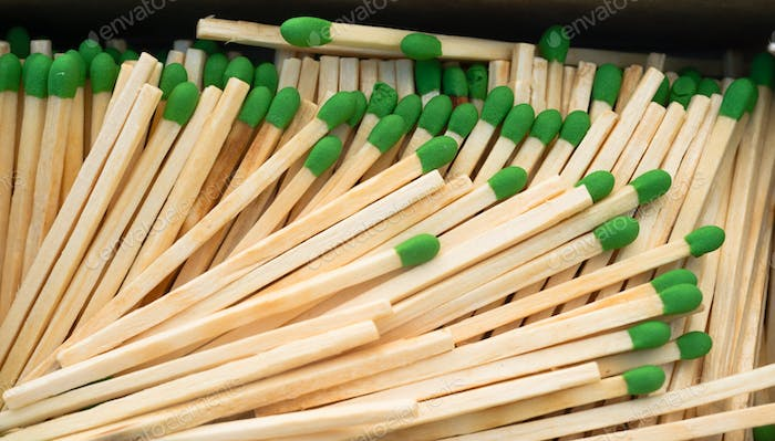Wood Stalk Green Tip Matches In Box Matchsticks