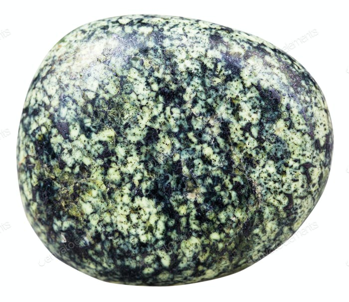 pebble of serpentine gemstone isolated on white