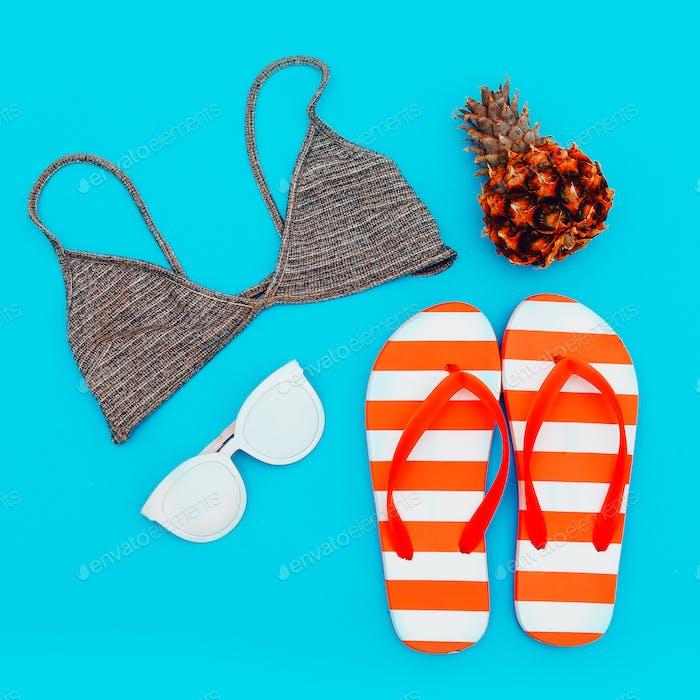 Beach set. Summer trends. Minimal style