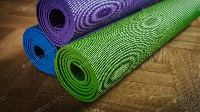 Yoga mats on floor