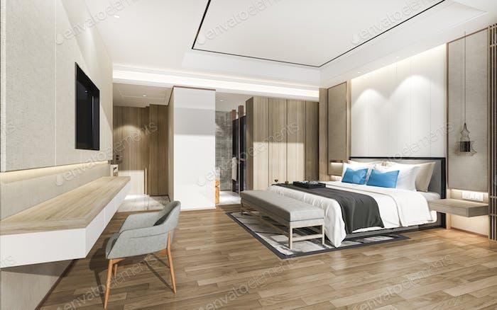 3d rendering modern blue luxury bedroom suite and bathroom