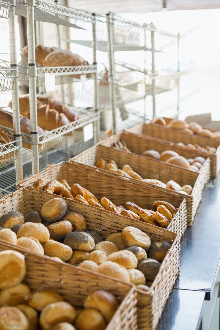 Baskets of freshly baked bread at the bakery