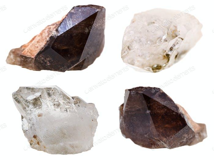 Exemplare von Quarzkristallen