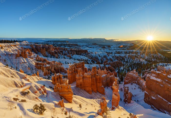 Bryce Canyon National Park at sunrise in Winter, Utah, USA