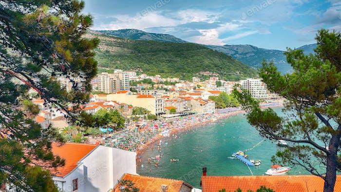 Promenade and main beach of Petrovac in Montenegro.