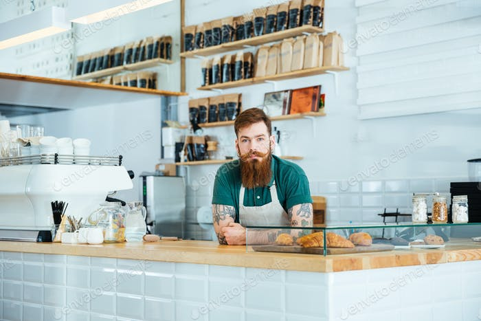 Barista with beard and moustache standing in coffee shop