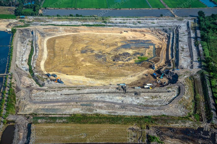Soil digging earthmoving land development aerial view