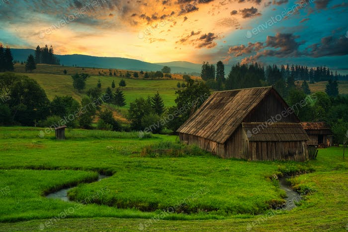 Wood cabin on the meadow