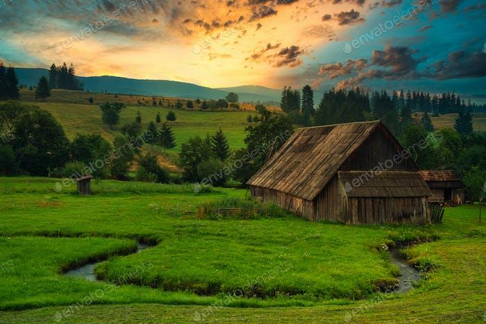 Cabaña de madera en el prado