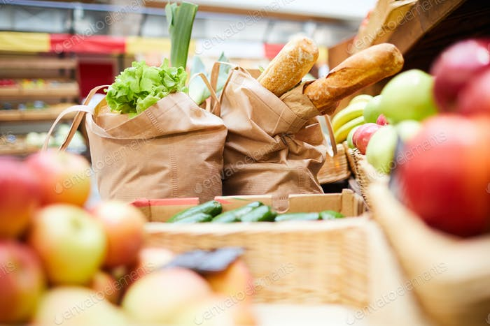 Shopping bags full of fresh products