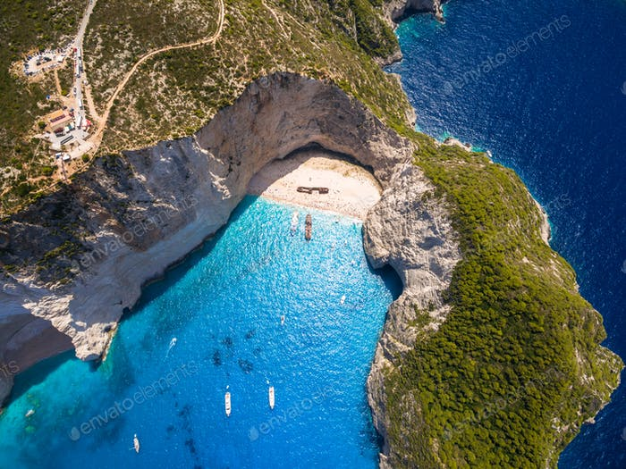 Aerial  view of Navagio beach Shipwreck in Zakynthos (Zante) isl