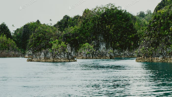 Small rocky islands in Pianemo, Raja Ampat, West Papua, Indonesia