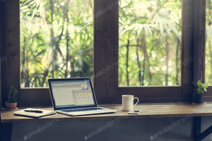 Man Working Coffee Shop Cafe Concept