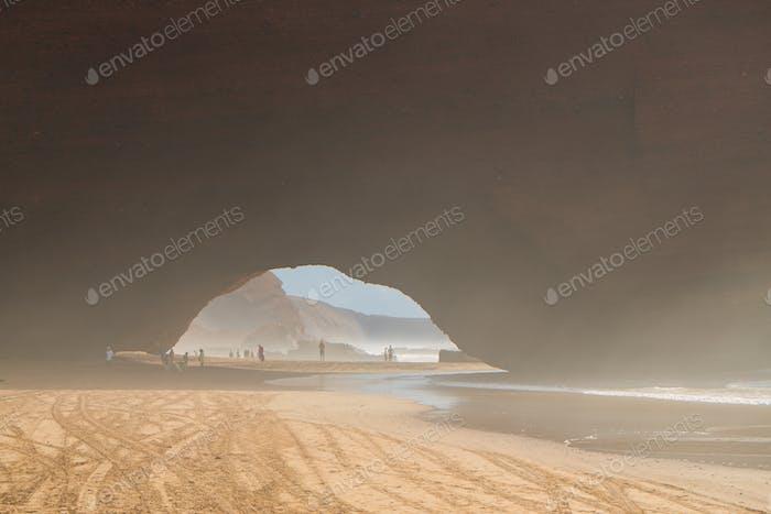Legzira Beach view, ocean coast in Morocco, arch view.