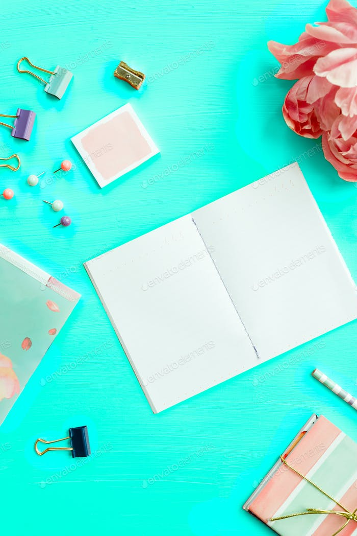 Empty Notebook for writing Dreams and Ideas, with different Stationery